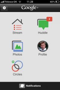 Vælg din Google+ Strøm på iPhone